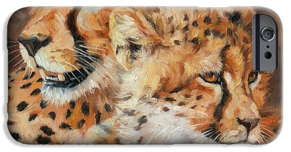 Young Paintings iPhone Cases - Cheetah and Cub iPhone Case by David Stribbling