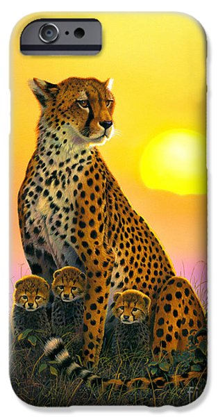 Portrait iPhone Cases - Cheetah And Cubs iPhone Case by MGL Studio - Chris Hiett