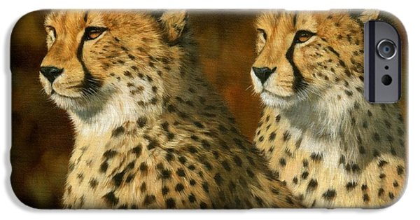 David iPhone Cases - Cheetah Brothers iPhone Case by David Stribbling