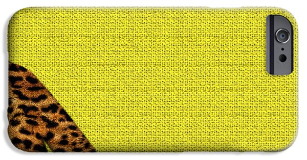 Cheetah Digital Art iPhone Cases - Cheetah Furry Bottom on Yellow iPhone Case by Serge Averbukh