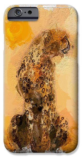 Cheetah Digital Art iPhone Cases - Cheetah iPhone Case by Stefan Kuhn