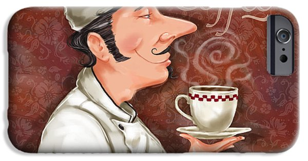 People iPhone Cases - Chef Smell the Coffee iPhone Case by Shari Warren
