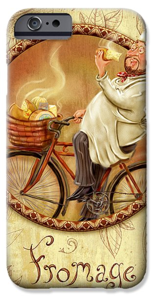 Chef iPhone Cases - Chefs on Bikes-Fromage iPhone Case by Shari Warren