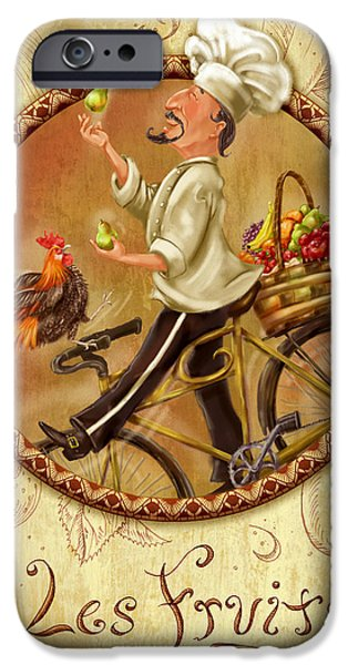 Chef iPhone Cases - Chefs on Bikes-Les Fruits iPhone Case by Shari Warren