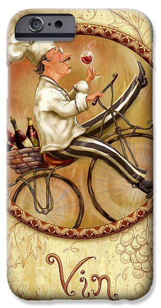 Chef iPhone Cases - Chefs on Bikes-Vin iPhone Case by Shari Warren