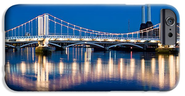 Power iPhone Cases - Chelsea Bridge With Battersea Power iPhone Case by Panoramic Images