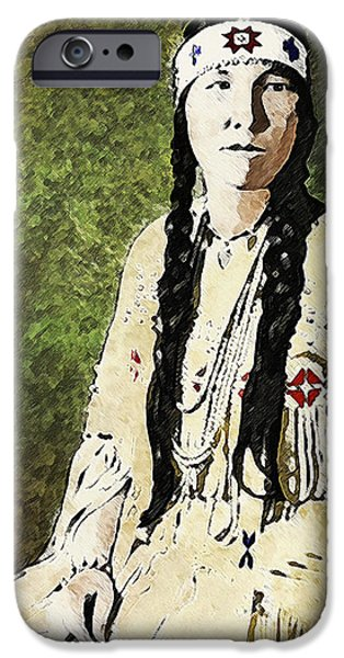 Nation iPhone Cases - Cherokee Woman iPhone Case by Lianne Schneider
