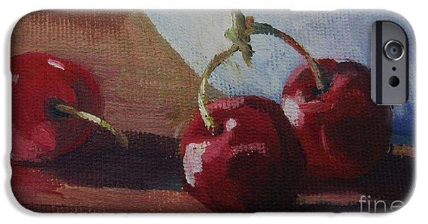 Cherry Art iPhone Cases - Cherries 2 iPhone Case by John Clark