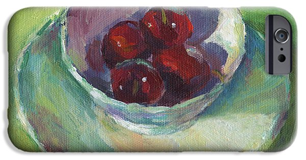 Joyful Drawings iPhone Cases - Cherries in a Cup #2 iPhone Case by Svetlana Novikova