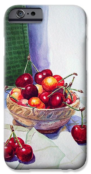 Cherries iPhone Case by Irina Sztukowski