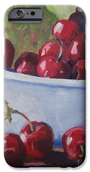 Cherry Art iPhone Cases - Cherries iPhone Case by John Clark