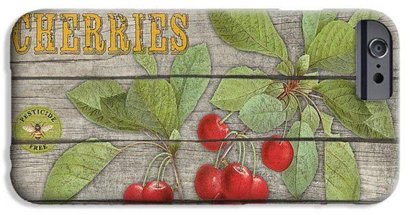 Sign iPhone Cases - Cherries-JP2675 iPhone Case by Jean Plout