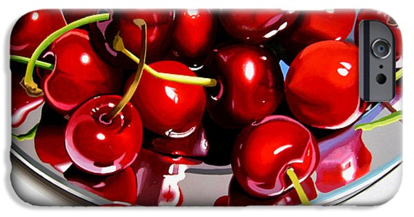 Stainless Steel Paintings iPhone Cases - Cherries Reflected On Platter iPhone Case by Jeni Hodgson-Craig