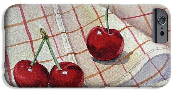 Berry Paintings iPhone Cases - Cherries Talk iPhone Case by Irina Sztukowski