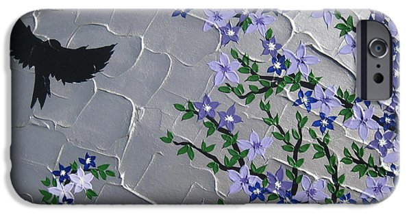 Cherry Blossoms Mixed Media iPhone Cases - Cherry blossom and bird iPhone Case by Cathy Jacobs