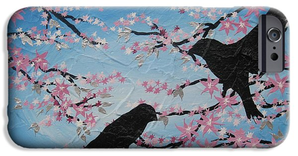 Cherry Blossoms Mixed Media iPhone Cases - Cherry Blossom Birds iPhone Case by Cathy Jacobs