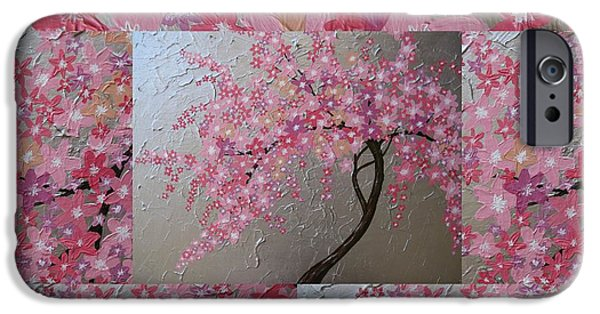 Cherry Blossoms Mixed Media iPhone Cases - Cherry Blossom collage iPhone Case by Cathy Jacobs