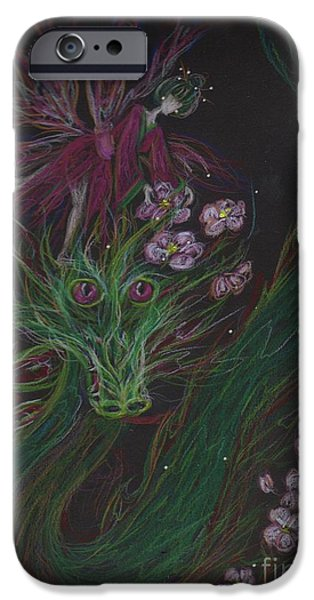 Cherry Blossoms Drawings iPhone Cases - Cherry Blossom Drunk iPhone Case by Dawn Fairies