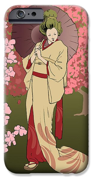 Umbrella Mixed Media iPhone Cases - Cherry Blossom iPhone Case by H James Hoff