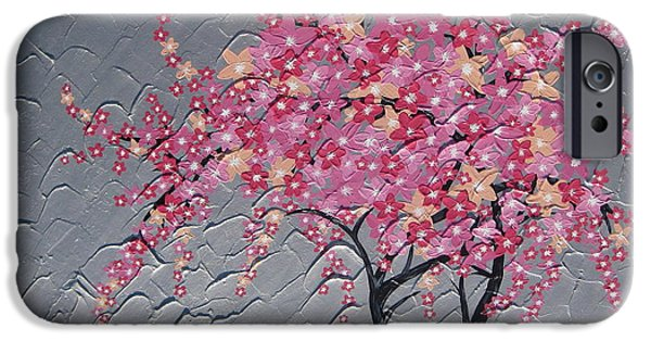 Cherry Blossoms Mixed Media iPhone Cases - Cherry blossom in pink iPhone Case by Cathy Jacobs