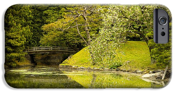 Bridge iPhone Cases - Cherry Blossom Japanese Garden iPhone Case by Sebastian Musial