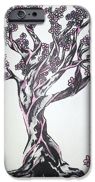 Cherry Blossoms Drawings iPhone Cases - Cherry Blossom Tree iPhone Case by Melissa Sink