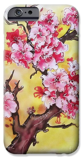 Nature Abstract Tapestries - Textiles iPhone Cases - Cherry blossom iPhone Case by Violetta Kurbanova