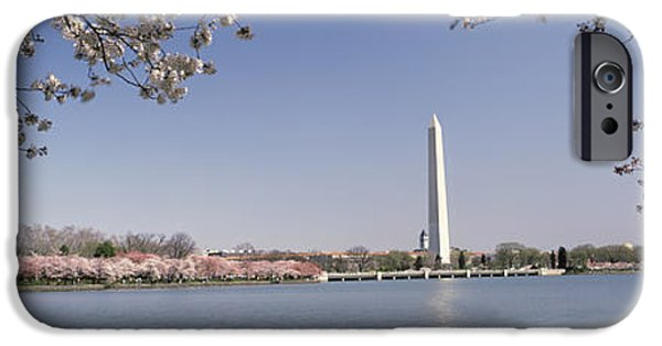 Cherry Blossoms iPhone Cases - Cherry Blossom With Monument iPhone Case by Panoramic Images