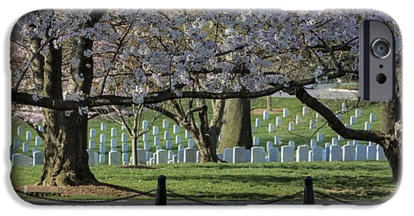 Washington D.c. iPhone Cases - Cherry Blossoms Adorn Arlington National Cemetery iPhone Case by Susan Candelario