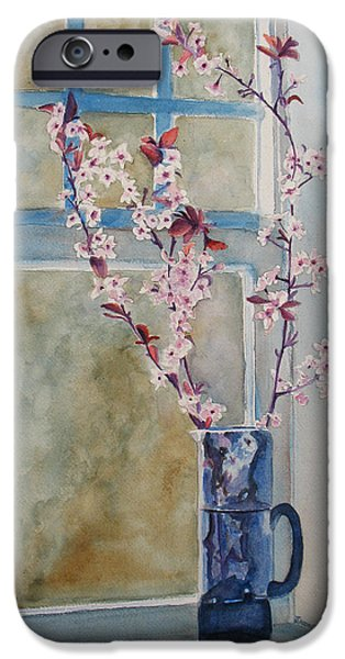 Cherry Blossoms iPhone Cases - Cherry Blossoms in a Blue Pitcher iPhone Case by Jenny Armitage