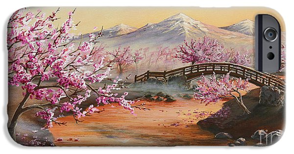Mist Paintings iPhone Cases - Cherry Blossoms in the Mist iPhone Case by Joe Mandrick
