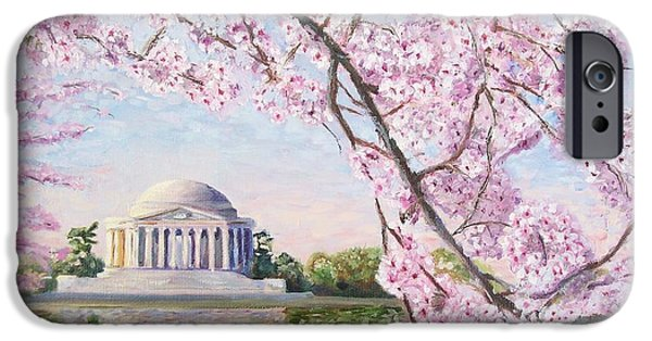 Cherry Blossoms iPhone Cases - Jefferson Memorial Cherry Blossoms iPhone Case by Patty Kay Hall