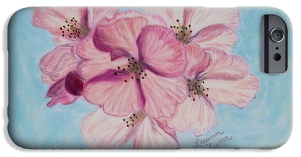 Cherry Blossoms Pastels iPhone Cases - Cherry Blossoms iPhone Case by Leeann Clayton
