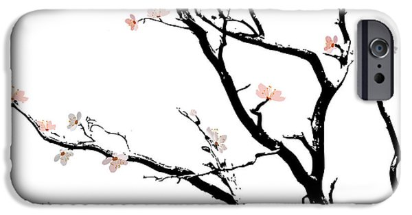 Cherry Blossoms Mixed Media iPhone Cases - Cherry Blossoms Tree iPhone Case by Gina Dsgn