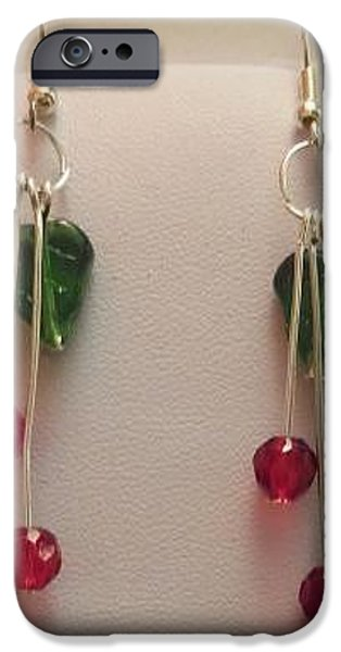 Eye Jewelry iPhone Cases - Cherry Earrings iPhone Case by Kimberly Johnson
