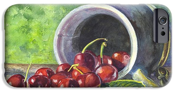 Berry iPhone Cases - Cherry Pickins iPhone Case by Carol Wisniewski