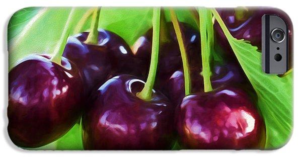 Cherry Art iPhone Cases - Cherry Ripe Delight iPhone Case by Georgiana Romanovna