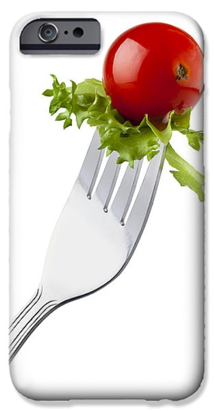 Little iPhone Cases - Cherry tomato and curly endive on a fork iPhone Case by Pablo Romero