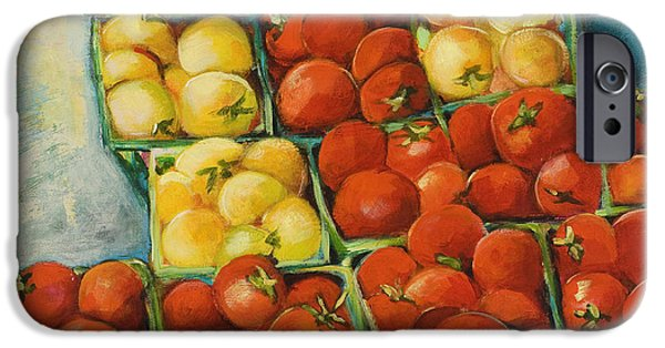 Cherry Art iPhone Cases - Cherry Tomatoes iPhone Case by Jen Norton