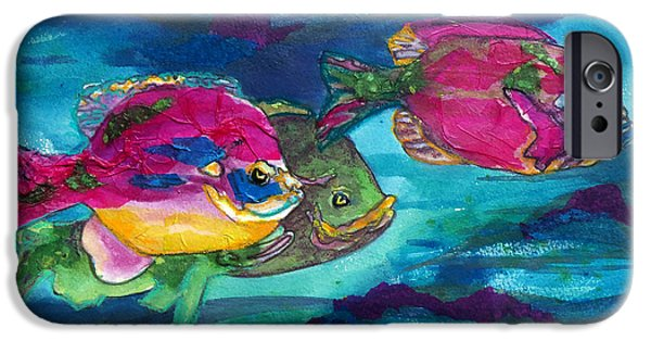 Aquatic Mixed Media iPhone Cases - Cherry Toppers iPhone Case by Kathy Braud