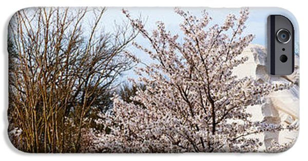Martin Luther King Jr iPhone Cases - Cherry Trees In Front Of A Memorial iPhone Case by Panoramic Images