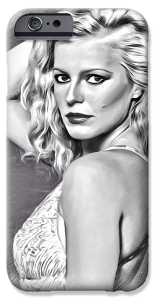 Munroe Digital Art iPhone Cases - Cheryl Ladd Sketch iPhone Case by Scott Wallace