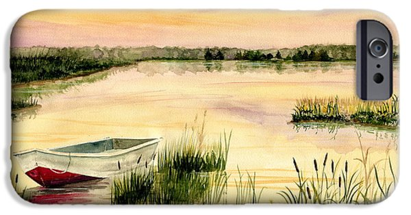 Boats In Water Paintings iPhone Cases - Chesapeake Marsh iPhone Case by Melly Terpening