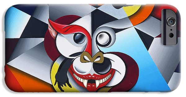 Surrealistic Paintings iPhone Cases - Cheshire Cat iPhone Case by David Azzarello