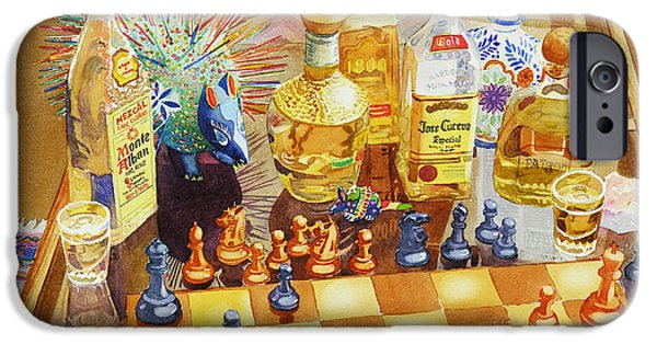 Paintings iPhone Cases - Chess and Tequila iPhone Case by Mary Helmreich