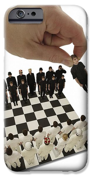 25-29 Years iPhone Cases - Chess Being Played With Little People iPhone Case by Darren Greenwood