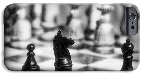 Chess Players iPhone Cases - Chess Game in black and white iPhone Case by Paul Ward