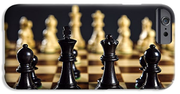 Challenging iPhone Cases - Chess pieces on board iPhone Case by Elena Elisseeva