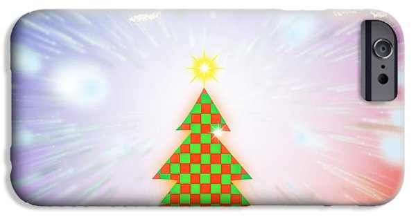 Backdrop iPhone Cases - Chess Style Christmas Tree iPhone Case by Atiketta Sangasaeng