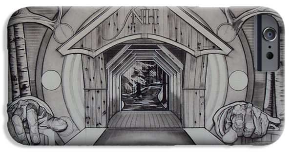 Covered Bridge Drawings iPhone Cases - Chester NH iPhone Case by Sean Connolly
